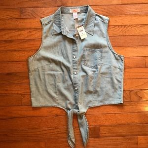Chambray button up tie tank